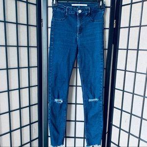 Zara skinny high waisted jeans distressed Sz 4